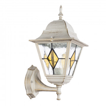 Настенный фонарь Arte Lamp Berlin A1011AL-1WG, IP44, 1xE27x75W, белый с золотой патиной, прозрачный, янтарь, металл, стекло