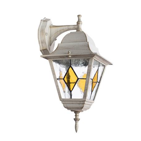 Настенный фонарь Arte Lamp Berlin A1012AL-1WG, IP44, 1xE27x75W, белый с золотой патиной, янтарь, прозрачный, металл, металл со стеклом - миниатюра 1