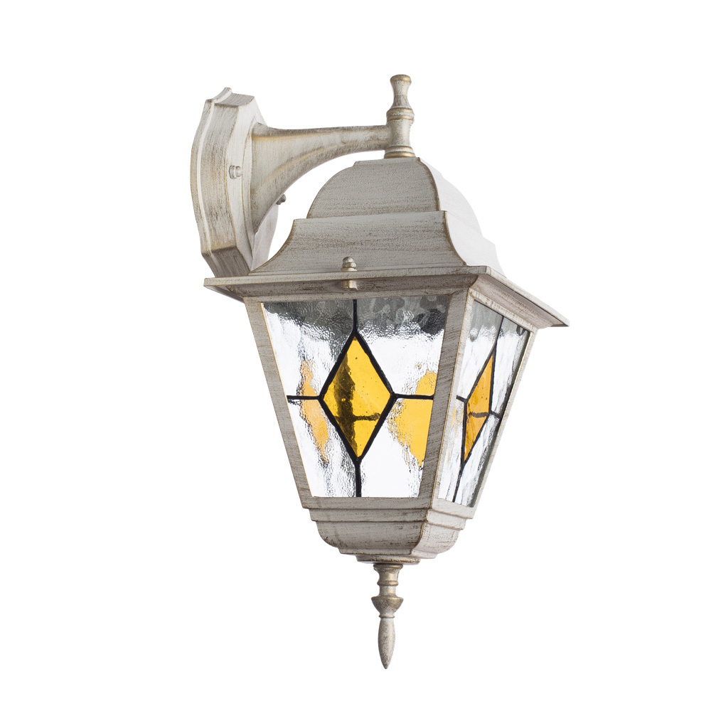 Настенный фонарь Arte Lamp Berlin A1012AL-1WG, IP44, 1xE27x75W, белый с золотой патиной, янтарь, прозрачный, металл, металл со стеклом - фото 1