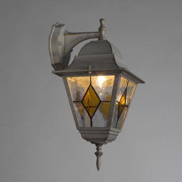 Настенный фонарь Arte Lamp Berlin A1012AL-1WG, IP44, 1xE27x75W, белый с золотой патиной, янтарь, прозрачный, металл, металл со стеклом - миниатюра 2