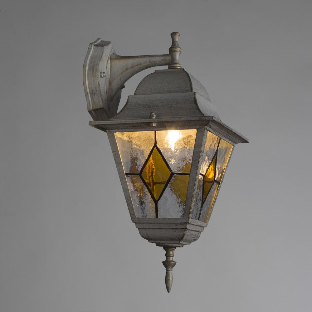 Настенный фонарь Arte Lamp Berlin A1012AL-1WG, IP44, 1xE27x75W, белый с золотой патиной, янтарь, прозрачный, металл, металл со стеклом - фото 2