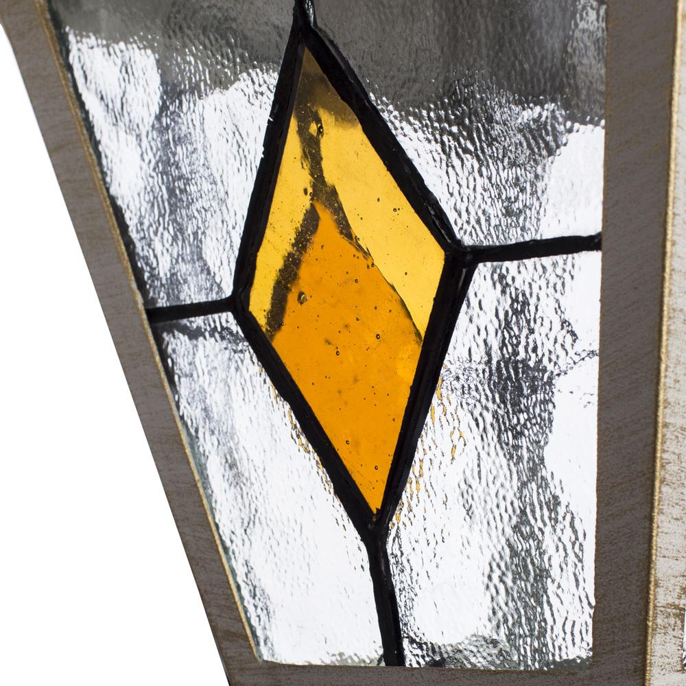 Настенный фонарь Arte Lamp Berlin A1012AL-1WG, IP44, 1xE27x75W, белый с золотой патиной, янтарь, прозрачный, металл, металл со стеклом - фото 3