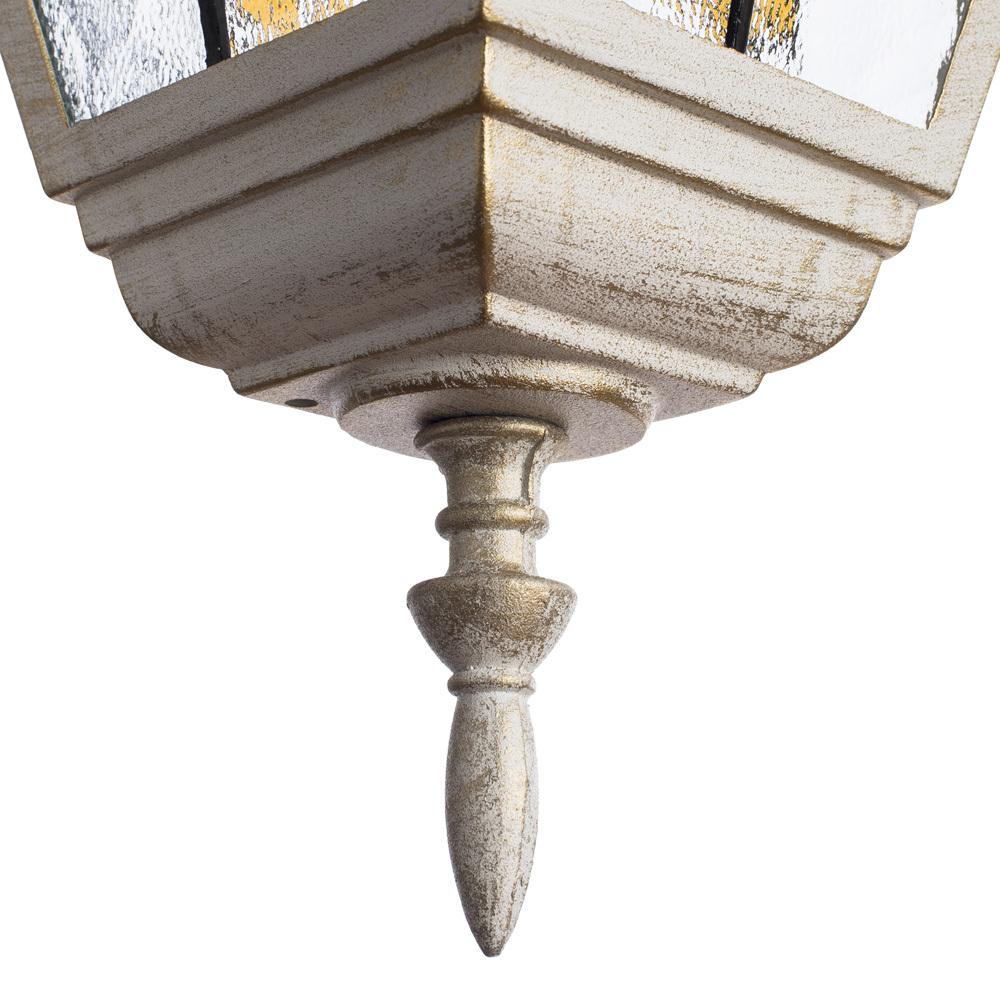 Настенный фонарь Arte Lamp Berlin A1012AL-1WG, IP44, 1xE27x75W, белый с золотой патиной, янтарь, прозрачный, металл, металл со стеклом - фото 4