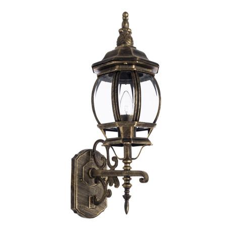 Настенный фонарь Arte Lamp Atlanta A1041AL-1BN, IP21, 1xE27x75W, черненое золото, прозрачный, черный с золотой патиной, металл, ковка, металл со стеклом