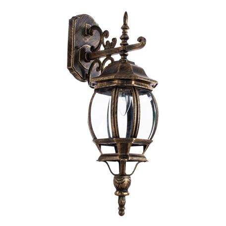 Настенный фонарь Arte Lamp Atlanta A1042AL-1BN, IP21, 1xE27x75W, черненое золото, прозрачный, черный с золотой патиной, металл, ковка, металл со стеклом