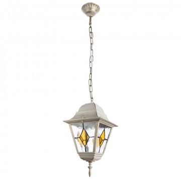Подвесной светильник Arte Lamp Berlin A1015SO-1WG, IP44, 1xE27x75W, белый с золотой патиной, янтарь, прозрачный, металл, металл со стеклом