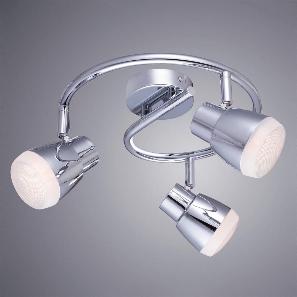 Потолочная светодиодная люстра с регулировкой направления света Arte Lamp Cuffia A5621PL-3CC, LED 15W 3000K 1080lm CRI≥80, хром, металл, пластик - фото 1