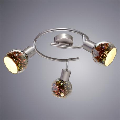 Потолочная люстра с регулировкой направления света Arte Lamp Illusione A6125PL-3SS, 3xE14x40W, серебро, 3D-эффект, разноцветный, металл, стекло