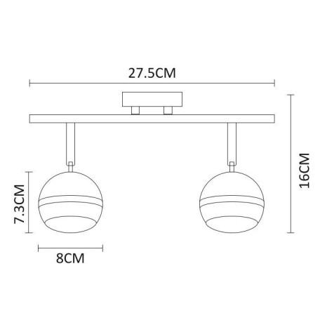 Схема с размерами Arte Lamp A6009PL-2AB