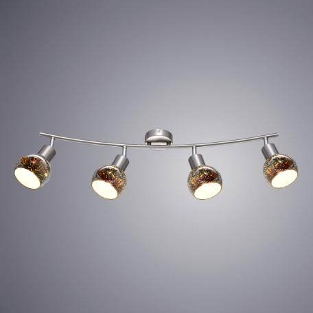 Потолочный светильник с регулировкой направления света Arte Lamp Illusione A6125PL-4SS, 4xE14x40W, серебро, 3D-эффект, разноцветный, металл, стекло