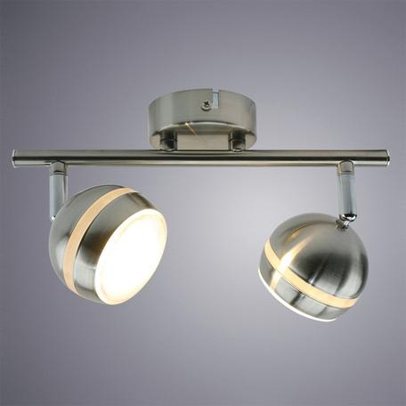 Потолочный светодиодный светильник с регулировкой направления света Arte Lamp Venerd A6009PL-2SS, LED 10W 3000K 800lm CRI≥70, серебро, металл, пластик