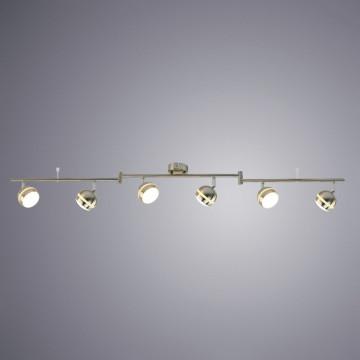 Потолочный светодиодный светильник с регулировкой направления света Arte Lamp Venerd A6009PL-6SS, LED 30W 3000K 2400lm CRI≥70, серебро, металл, пластик