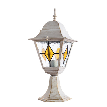 Садово-парковый светильник Arte Lamp Berlin A1014FN-1WG, IP44, 1xE27x75W, белый с золотой патиной, янтарь, прозрачный, металл, металл со стеклом