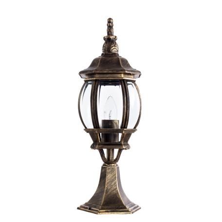 Садово-парковый светильник Arte Lamp Atlanta A1044FN-1BN, IP21, 1xE27x75W, черненое золото, прозрачный, черный с золотой патиной, металл, ковка, металл со стеклом