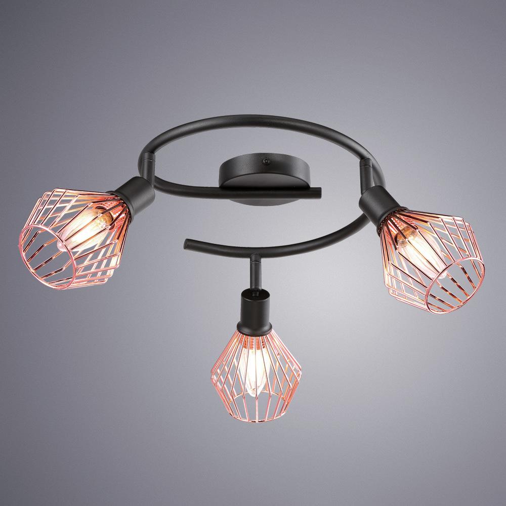 Спот Arte Lamp Grato A9163PL-3BK, 3xE14x40W, черный, медь, металл - фото 1