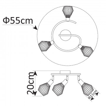 Схема с размерами Arte Lamp A9163PL-3BK