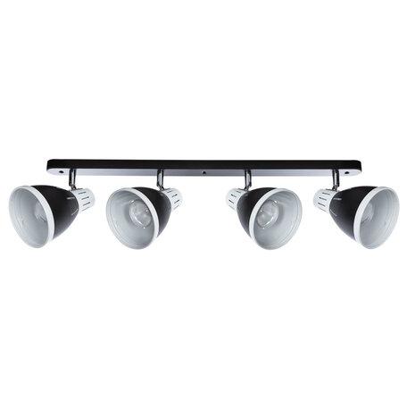 Настенный светильник с регулировкой направления света Arte Lamp Marted A2215PL-4BK, 4xE27x40W, черный, черно-белый, металл