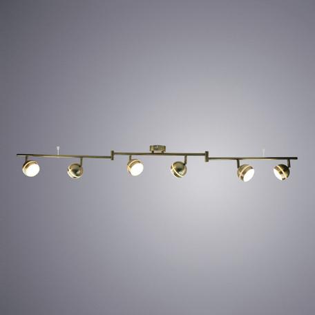 Потолочный светодиодный светильник с регулировкой направления света Arte Lamp Venerd A6009PL-6AB, LED 30W 3000K 2400lm CRI≥70, бронза, металл, пластик