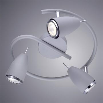 Потолочная люстра с регулировкой направления света Arte Lamp Regista A1966PL-3GY, 3xGU10x50W, серый, хром, металл