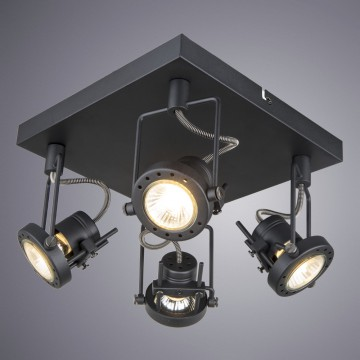 Потолочная люстра с регулировкой направления света Arte Lamp Costruttore A4300PL-4BK, 4xGU10x50W, черный, металл