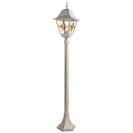 Уличный фонарь Arte Lamp Berlin A1016PA-1WG, IP44, 1xE27x75W, белый с золотой патиной, янтарь, металл, металл со стеклом/пластиком