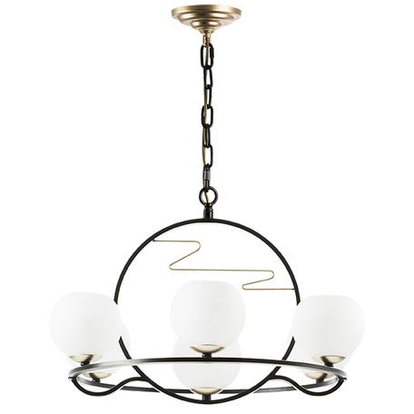 Подвесная люстра Lightstar Enna 762077, 7xE14x40W, черный, белый, металл, стекло