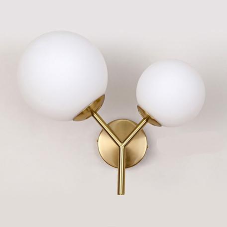 Настенный светильник Lumina Deco Dinari LDW 6022-2 WT+MD, 2xE27x40W, бронза, белый, металл, стекло