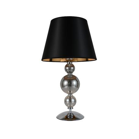 Настольная лампа Lumina Deco Muraneo LDT 1123 BK, 1xE27x40W, хром, дымчатый, черный, стекло, текстиль