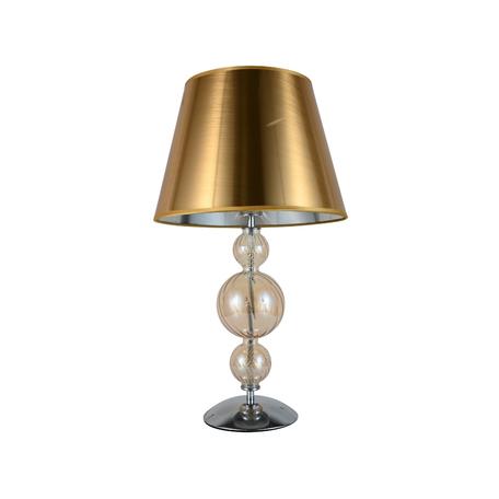 Настольная лампа Lumina Deco Muraneo LDT 1123 GD, 1xE27x40W, хром, янтарь, золото, стекло, текстиль