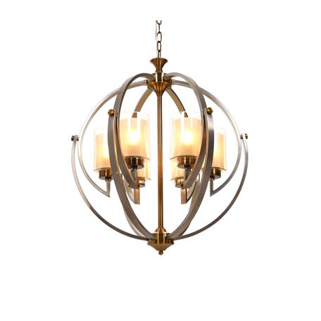 Подвесная люстра Lumina Deco Bergen LDP 1232-6 SN+MD, 6xE27x40W, матовое золото, серебро, янтарь, металл, металл со стеклом