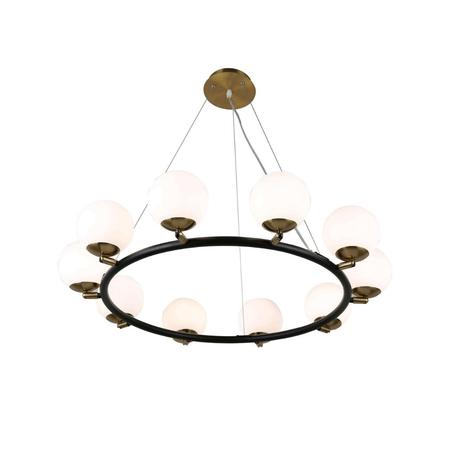 Подвесная люстра Lumina Deco Modica LDP 6032-10 BK+MD, 10xG9x5W, черный, белый, металл, стекло - миниатюра 1