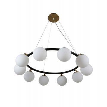 Подвесная люстра Lumina Deco Modica LDP 6032-10 BK+MD, 10xG9x5W, черный, белый, металл, стекло - миниатюра 2