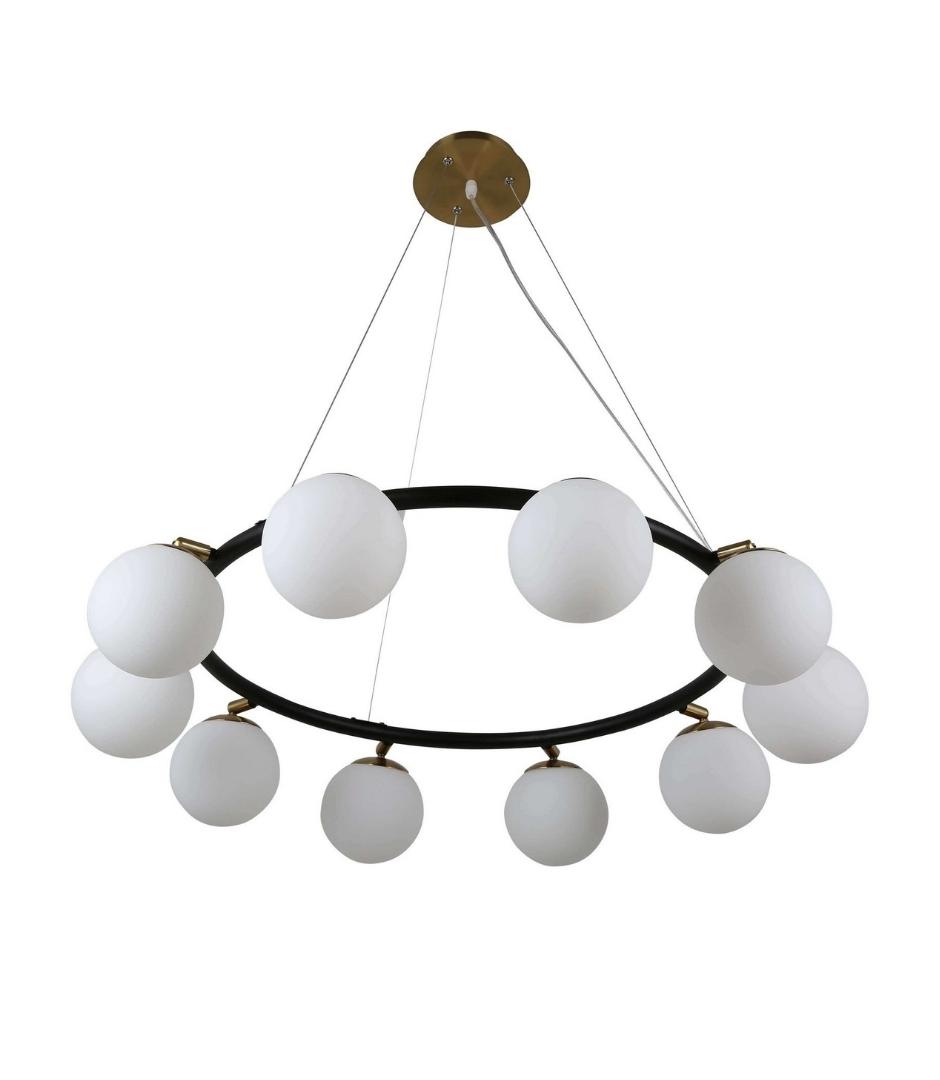 Подвесная люстра Lumina Deco Modica LDP 6032-10 BK+MD, 10xG9x5W, черный, белый, металл, стекло - фото 2