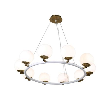 Подвесная люстра Lumina Deco Modica LDP 6032-10 WT+MD, 10xG9x5W, бронза, белый, металл, стекло