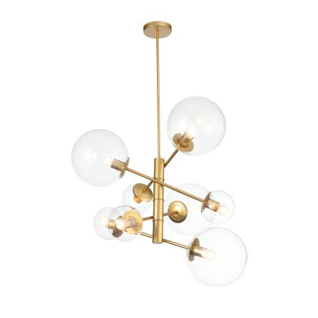 Подвесная люстра ST Luce Liora SL1150.203.08, 8xE27x40W, матовое золото, прозрачный, металл, стекло
