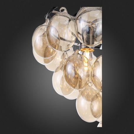 Подвесная люстра ST Luce Sospiro SL432.203.05, 5xE27x60W, хром, коньячный, металл, стекло - миниатюра 11