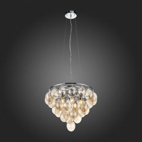 Подвесная люстра ST Luce Sospiro SL432.203.05, 5xE27x60W, хром, коньячный, металл, стекло - миниатюра 7
