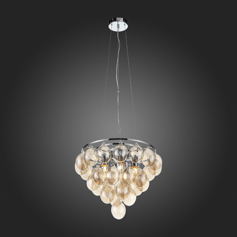 Подвесная люстра ST Luce Sospiro SL432.203.05, 5xE27x60W, хром, коньячный, металл, стекло - фото 7