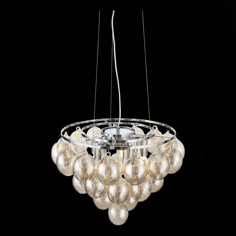 Подвесная люстра ST Luce Sospiro SL432.203.05, 5xE27x60W, хром, коньячный, металл, стекло - фото 8