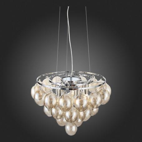 Подвесная люстра ST Luce Sospiro SL432.203.05, 5xE27x60W, хром, коньячный, металл, стекло - миниатюра 9