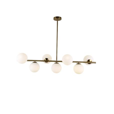 Подвесной светильник Lumina Deco Fredica LDP 6030-7 GD, 7xE27x40W, золото, белый, металл, стекло