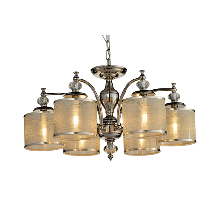 Потолочная люстра ST Luce Coresia SL1750.102.06, 6xE14x40W, хром, золото, металл со стеклом, текстиль