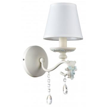 Бра Maytoni Laurie ARM033-01-BL, 1xE14x40W, белый, голубой, прозрачный, металл, текстиль, стекло