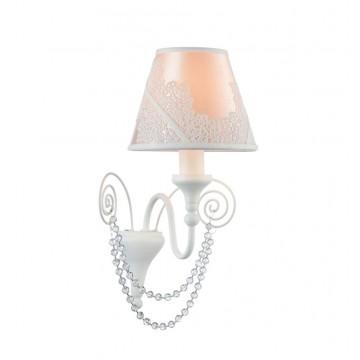 Бра Maytoni Lucy ARM042-01-W, 1xE14x40W, белый, розовый, прозрачный, металл, текстиль, стекло
