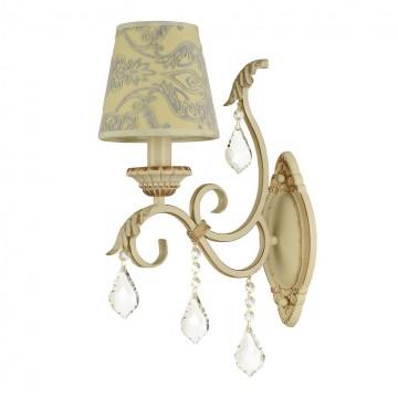 Бра Maytoni Velvet ARM219-01-G, 1xE14x40W, белый, матовое золото, бежевый, прозрачный, металл, текстиль, стекло