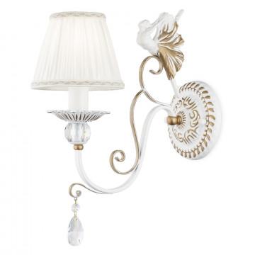 Бра Maytoni Elina ARM222-01-G, 1xE14x40W, белый, матовое золото, прозрачный, металл, текстиль, хрусталь