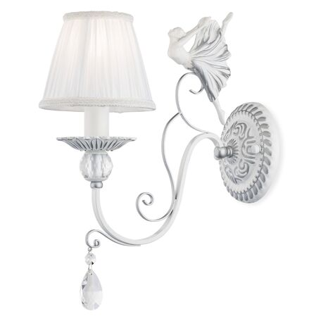 Бра Maytoni Elina ARM222-01-N, 1xE14x40W, белый, серебро, прозрачный, металл, текстиль, хрусталь