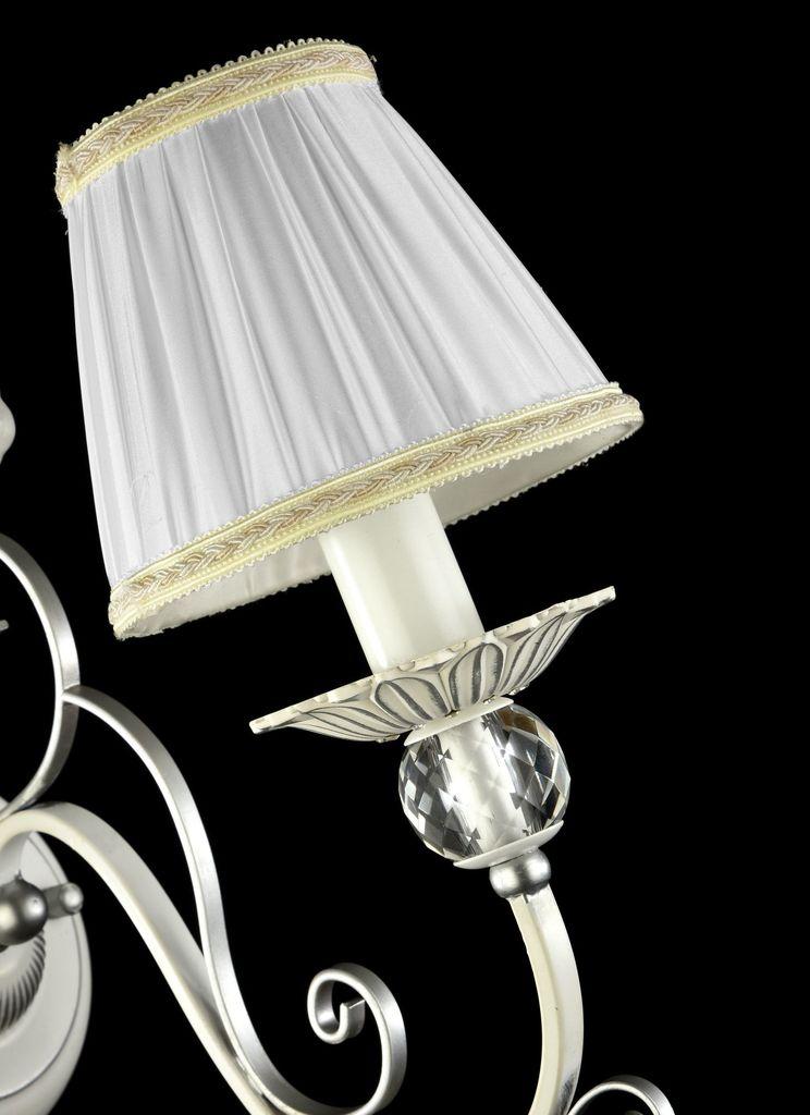 Бра Maytoni Elina ARM222-01-N, 1xE14x40W, белый, серебро, прозрачный, металл, текстиль, хрусталь - фото 4