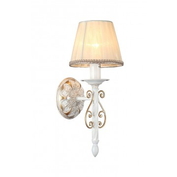 Бра Maytoni Sunrise ARM290-01-G, 1xE14x40W, белый, матовое золото, бежевый, металл, текстиль