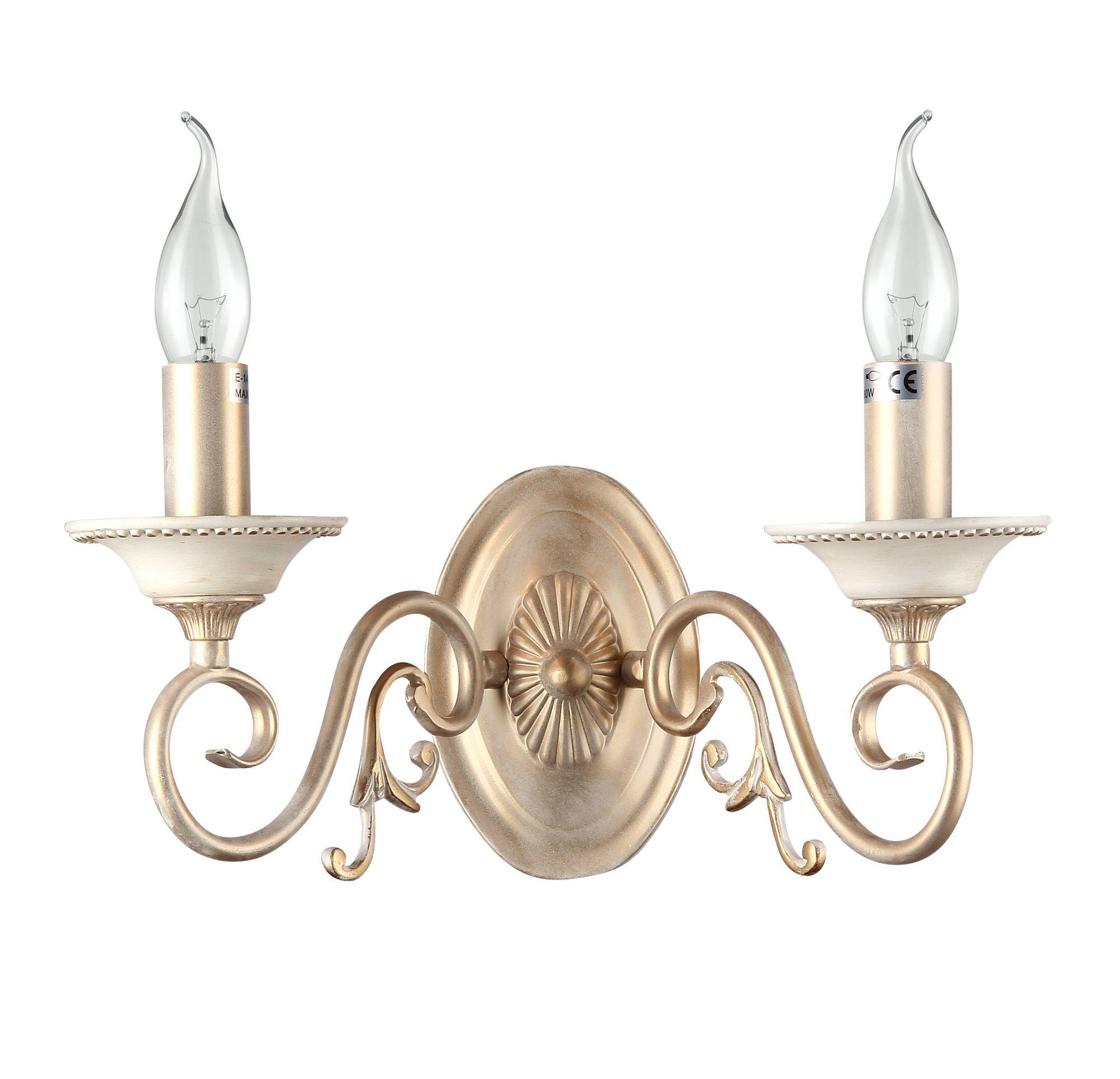 Бра Maytoni Classic Elegant Perla ARM337-02-R, 2xE14x60W, бежевый, матовое золото, металл - фото 3